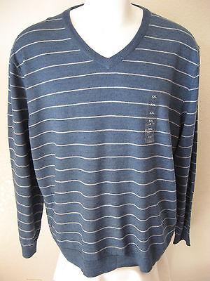 mens wool sweater xxl club room light blue stripe acrylic blend v neck woven $ 70 usd $ 37 99