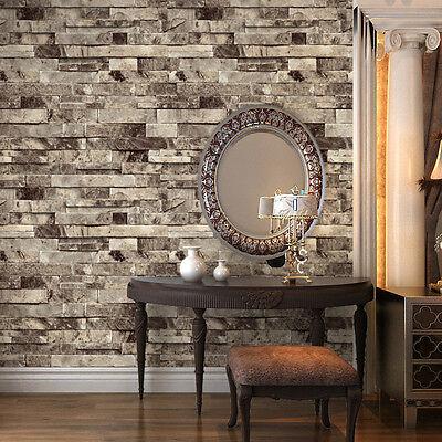 PVC Vintage 3D Texture Faux Brick Stone Wallpaper Murals Roll Modern Stone Wall   eBay