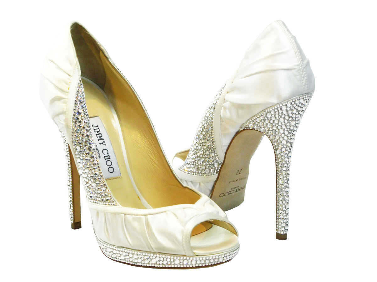jimmy choo wedding shoes jimmy choo wedding shoes NIB Jimmy Choo Ivory Swarovski Crystal Bridal Wedding Shoes Authentic