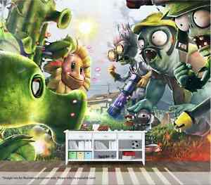 Plants Vs Zombies Wall Mural Wall Art Quality Pastable Wallpaper Decal | eBay