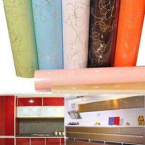 Gloss PVC Contact Paper Self Adhesive Wallpaper Kitchen Units Shelf Liner Cover | eBay