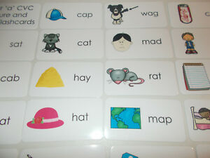 Letter  A  CVC Picture and Word Laminated Flashcards  Preschool 1st     Image is loading Letter 039 A 039 CVC Picture and Word