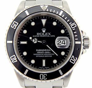 Rolex Submariner Date Mens Stainless Steel Sub Watch Black ...
