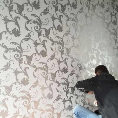 Victorian Damask 3D Feature Wallpaper Roll | Silver and Grey | UK Company | eBay