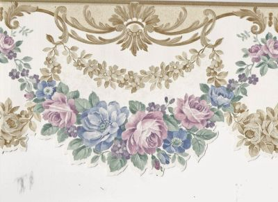 Victorian Satin Floral Wreath Gold Scroll - ONLY $9 - Wallpaper Border A239 | eBay