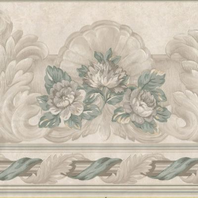 Victorian Medallion Scrolls Floral - Gold Green - ONLY $9 - Wallpaper Border 628 | eBay