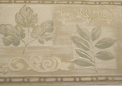 Style Selections Wallpaper Border Beige Sage Green Collage Tan Textured 0176542 | eBay
