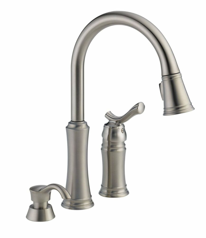 delta kitchen faucet delta trinsic kitchen faucet Delta Lakeview SSSD DST Pull Down Sprayer Stainless Kitchen Faucet