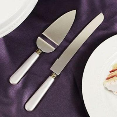 White Mother Of Pearl like Handle Wedding Cake Knife ...