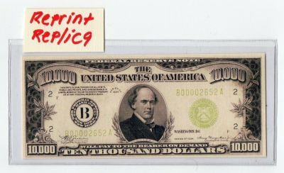 Novelty 10,000 Dollar bill Reprint/Replica | eBay