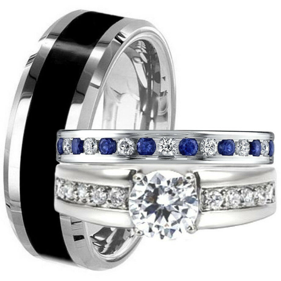 stainless steel wedding band Black TUNGSTEN STAINLESS STEEL His Hers Blue Sapphire CZ WEDDING BAND RING SET eBay