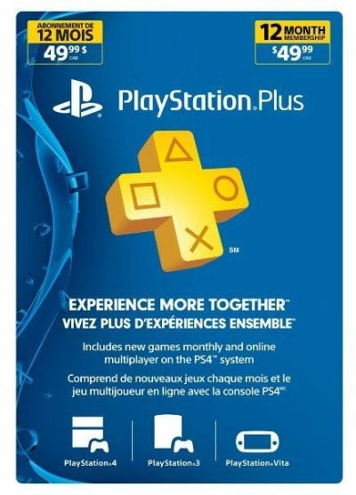 Playstation Plus 1 Year-12 Month Membership Canada, US Or ...