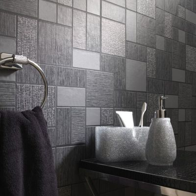 Black Glitter Tile Wallpaper Kitchen and Bathroom Tiling on a Roll 89240 | eBay