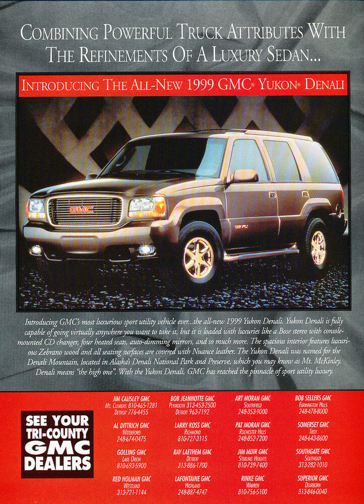 1999 GMC Yukon Denali   Original Car Advertisement Print Ad J158   eBay