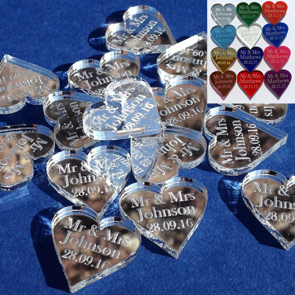 golden wedding table decorations wedding table centerpieces Personalised Love Hearts Wedding Favours Mr Mrs Table Confetti Decorations