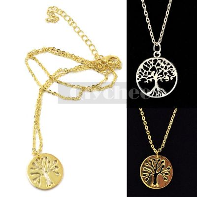 Women Gold Silver Tree of Life Pendant Necklace Fashion ...