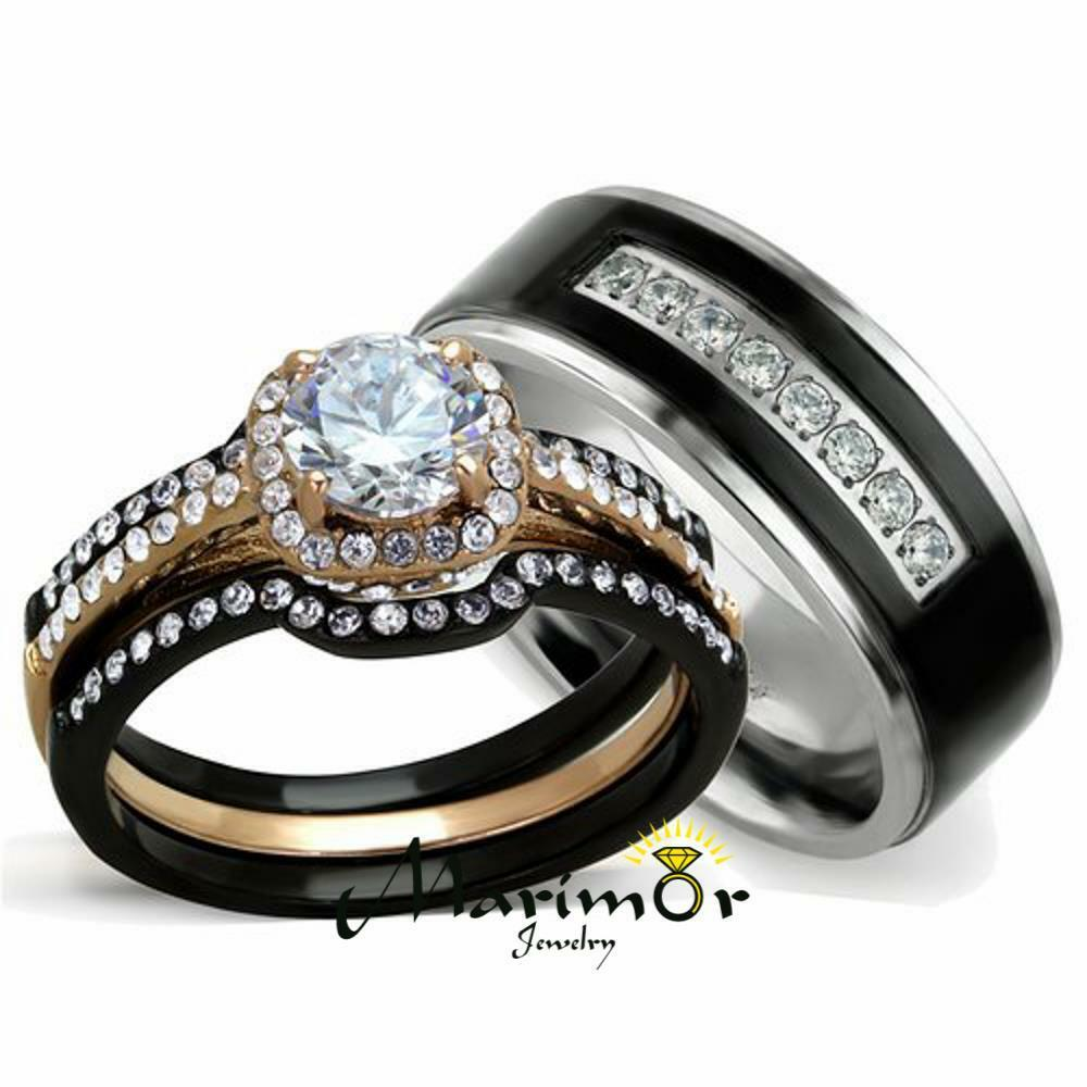 3 piece wedding ring set stainless steel wedding bands Hers His 3 PC Rose Gold Stainless Steel Wedding Ring Set Black