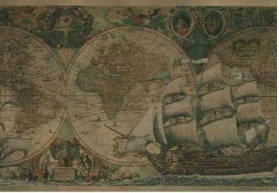 Wallpaper Border Old World Vintage Antique Looking Maps and Ships | eBay