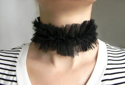 Gothic Halsband Choker schwarz Rüschen Kragen Tüll Stoff ...