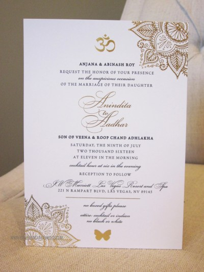 Indian Wedding Invitation / Gold Foil / Indian Fusion / | Etsy