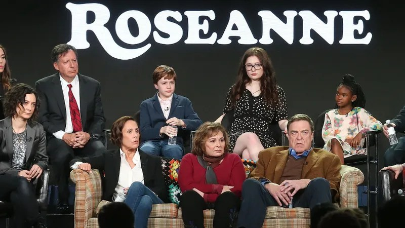 Roseanne Doesn t Normalize Trump Supporting Racists  It s a Documentary Cast members and executive producers of the television show Roseanne  onstage during the ABC Television Disney portion of the 2018 Winter  Television Critics