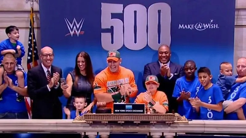 John Cena has granted more Make A Wish wishes than any other celebrity John Cena and fans at the New York Stock Exchange