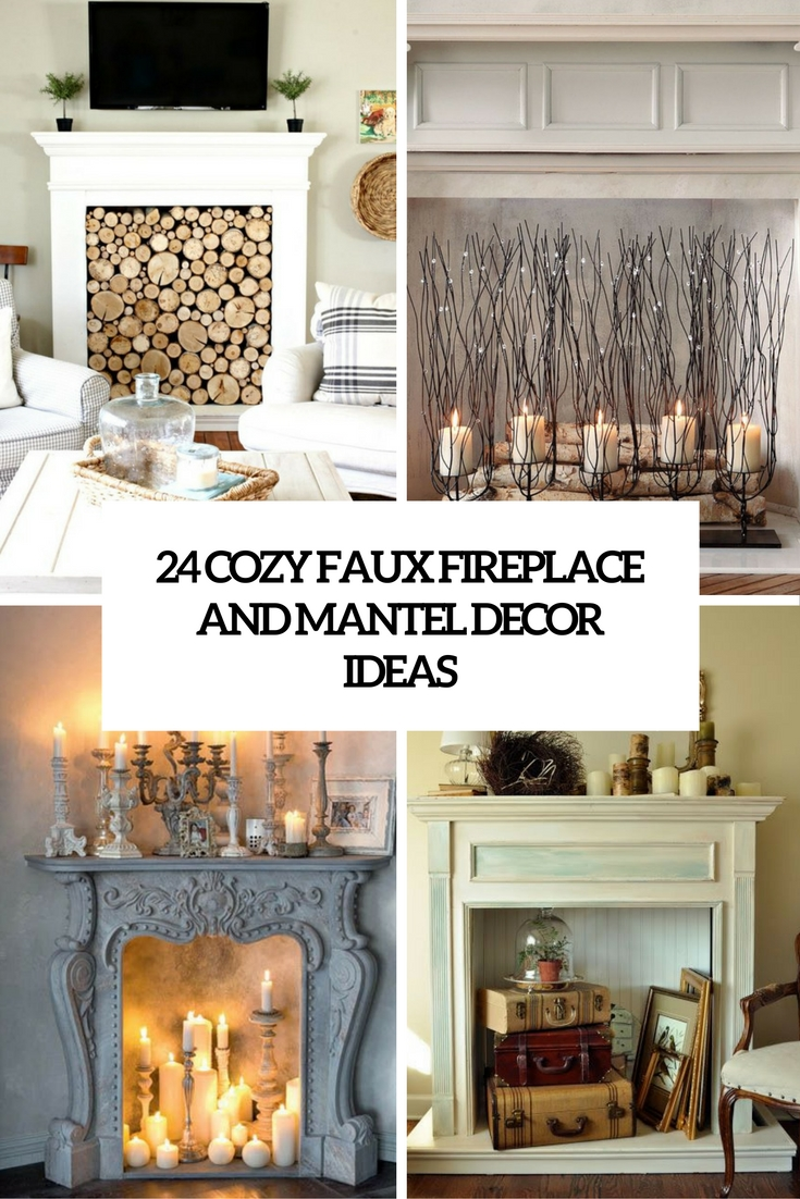 24 Cozy Faux Fireplace And Mantel Decor Ideas   Shelterness cozy faux mantel and fireplace decor ideas cove
