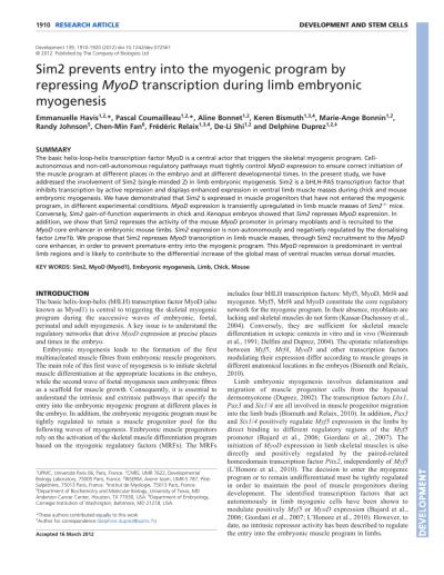 (PDF) Sim2 prevents entry into the myogenic program by repressing MyoD transcription during limb ...