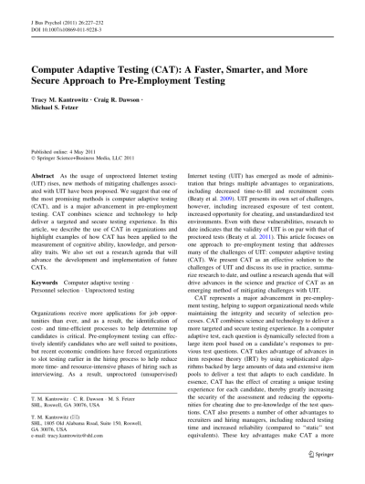 (PDF) Computer Adaptive Testing (CAT): A Faster, Smarter, and More Secure Approach to Pre ...