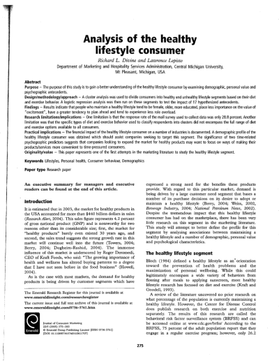 (PDF) Analysis of the healthy lifestyle consumer