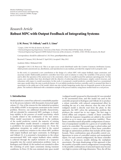 Robust MPC with Output Feedback of Integrating Systems (PDF Download Available)