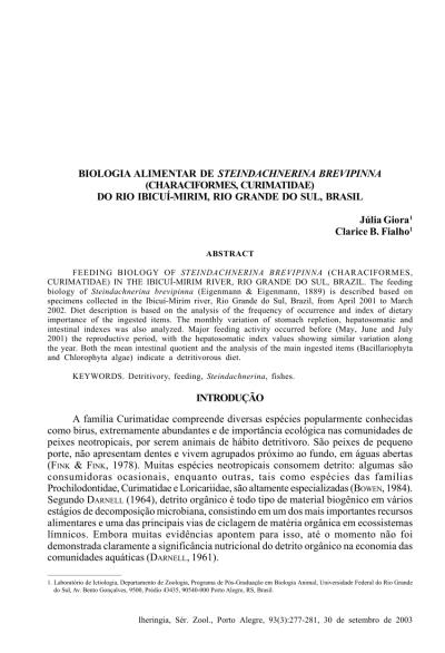 (PDF) Feeding biology of Steindachnerina brevipinna ...