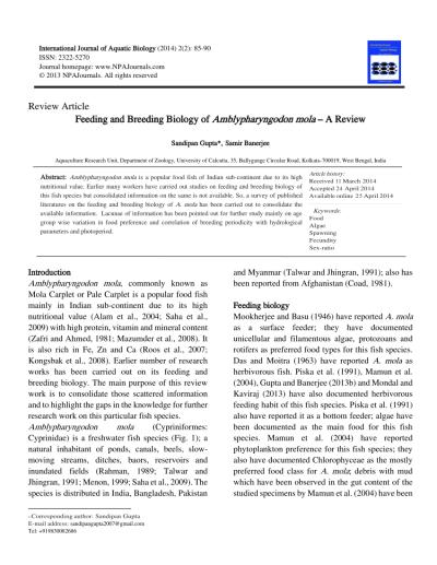 (PDF) Feeding and Breeding Biology of Amblypharyngodon ...
