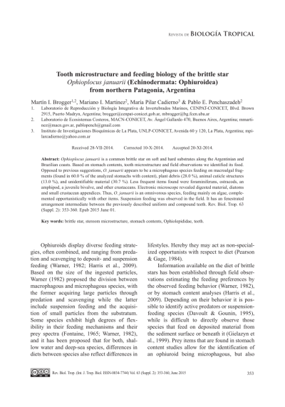 (PDF) Tooth microstructure and feeding biology of the ...