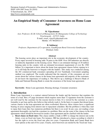 (PDF) An empirical study of consumer awareness on home loan agreement