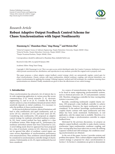 (PDF) Robust Adaptive Output Feedback Control Scheme for Chaos Synchronization with Input ...