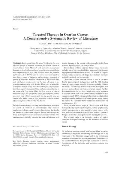 Targeted Therapy in Ovarian Cancer. A Comprehensive Systematic Review of Literature (PDF ...