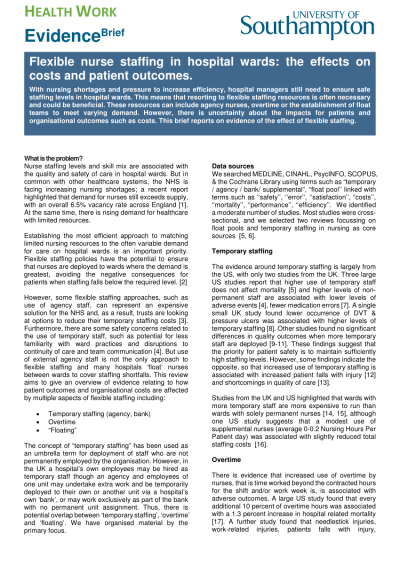 (PDF) Flexible nurse staffing in hospital wards: the effects on costs and patient outcomes
