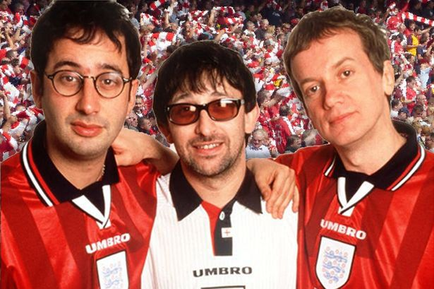 Quiz   do you know ALL the lyrics to Three Lions    Manchester     David Baddiel  left  and Frank Skinner joined Ian Broudie of The Lightning  Seeds on Three Lions
