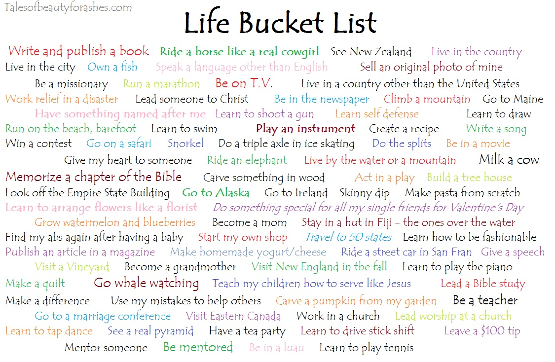Life Bucket List - Tales of Beauty for Ashes