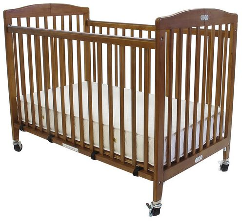 L a Baby Commercial Grade Full Size Wooden Folding Crib Cherry