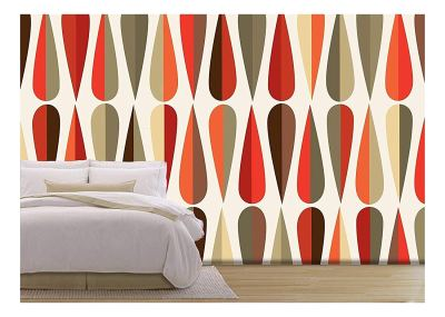 wall26 - Vector - Mid-Century Modern Style Retro Seamless Pattern with Drop Shapes in Various ...