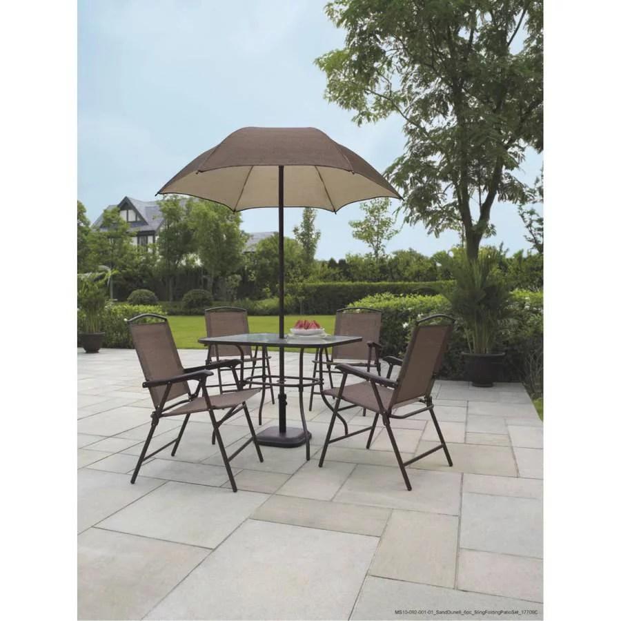 kitchen chairs walmart Mainstays Sand Dune 6 Piece Folding Patio Dining Set with Umbrella Seats 4 Walmart com