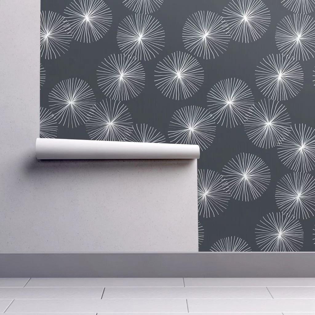 Peel-and-Stick Removable Wallpaper Mid Century Modern Retro Mod Navy Floral - Walmart.com