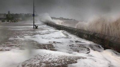 Storm Callum: Flood defences fail and homes without power - BBC News
