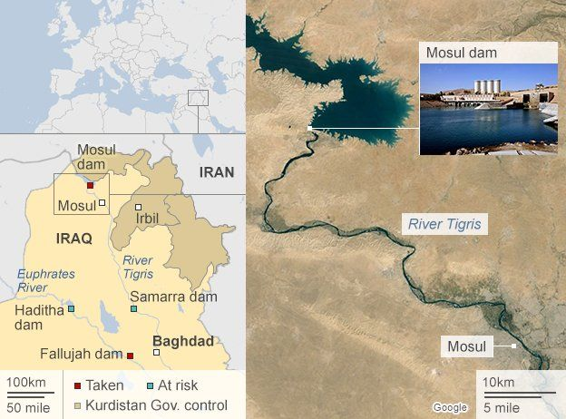 Mosul Dam  Why the battle for water matters in Iraq   BBC News Map of Mosul showing key dams across Iraq  valid on 13 August 2014