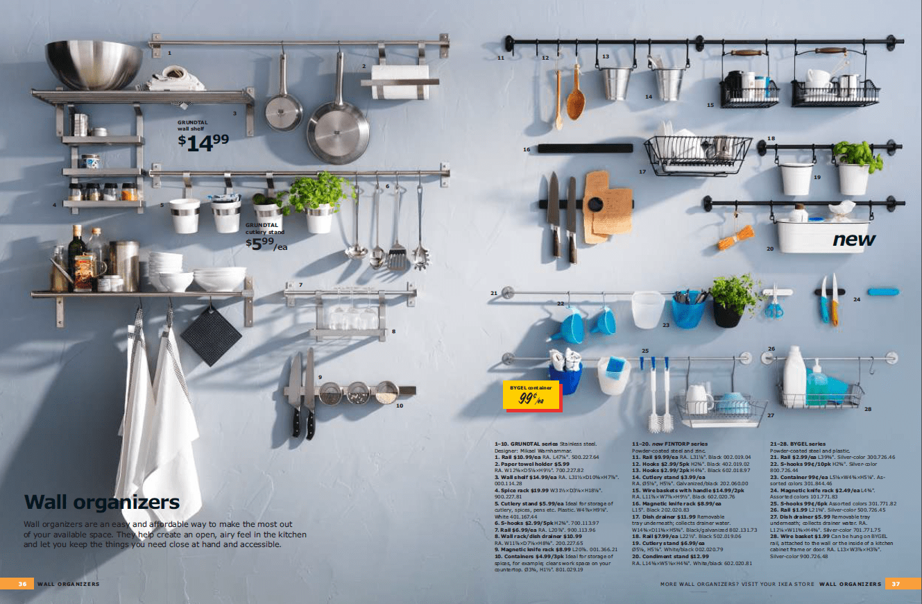 kitchen budget solution shelves instead of wall cabinets kitchen wall cabinets The IKEA Kitchen Catalogue devotes two pages to wall organizers alone
