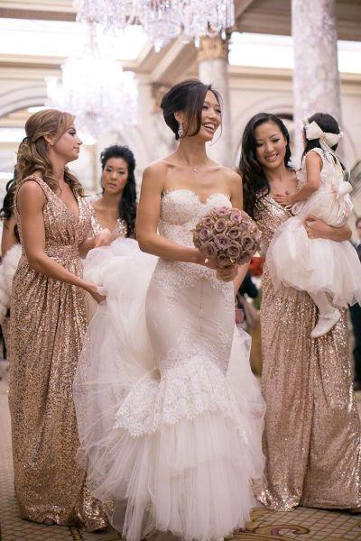 2017 Rose Gold Bridesmaids Dresses Sequins Plus Size ...
