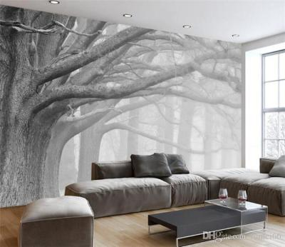 3D Wallpaper Living Room Bedroom Murals Modern Black And White Forest Tree Art TV Wall Murals ...