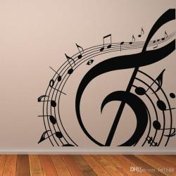 M 003 Free Shipping Diy Musical Notation Home Decor Music Wall Sticker Removable Vinyl Guitar Music Decal Babys Room Home Decoration